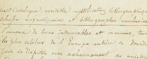Une note manuscrit de l'époque exposant les dessous du canular