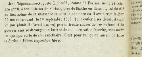 Préface du catalogue : détails biographiques sur le comte de Fortsas