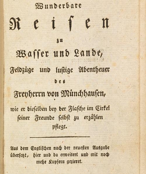 Page de titre de l'édition originale des Wundebare Reisen … des Freiherrn von Münchhausen de G. A. Bürger (1786)