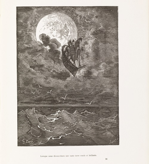 La tempête emporte le bateau du baron vers la Lune (illustration de G. Doré)]
