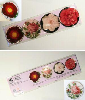 """Set de 4 aimants découpés """"Roses et camélias"""""""